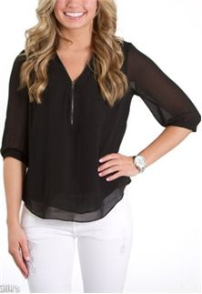 Naked Zebra Zipper Front Blouse