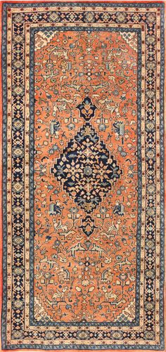 Central Medallion Vintage Persian Sarouk Rug 50489