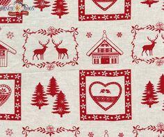Chalet des Alpes Natural Scandinavian Christmas Fabric