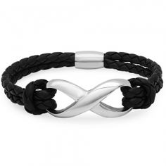 Braided Black Leather and Stainless Steel Infinity Bracelet with Magnetic Clasp ( 8 inches). Oxford Ivy braided black leather infinity bracelet with a  stainless steel magnetic clasp. The bracelet measures 8 inches long, end to end. Bracelet measures: 8 Inches Long Stainless Steel Magnetic Clasp- Stamped Oxford Ivy 6mm Wide Braided Black Leather Packaged in a velvet pouch with the Oxford Ivy logo.