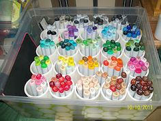 Copic Marker storage...pvc pipe and a plastic lid container.