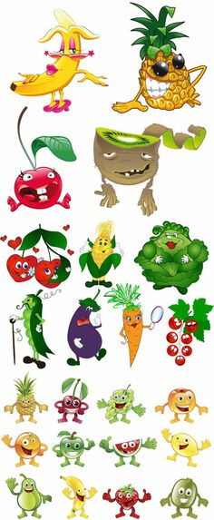 Cartoon Vegetables and Fruits Fruit And Veg, Fruits And Vegetables, Cartoon Vegetables, Fruit Cartoon, Cartoon Kids, Vegetable Cartoon, Food Clipart, Cute Fruit, Fruit Party
