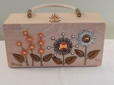 Vintage Enid Collins Wooden Box Purse Posies Fall Color Flowers  #EnidCollins #Box