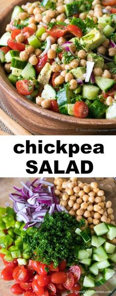 This beautiful Chickpea Salad combines all of my favorite fresh vegetables in one delicious bite.  Juicy tomatoes, refreshing cucumbers, creamy avocados with chickpeas all tossed in an easy homemade lemon kissed dressing.  This is the perfect make ahead dish as this salad keeps for days!