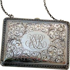 Late Victorian Edwardian Sterling Silver Purse Evening Bag Hand Chased Ornate Flowers Design from #AntikAvenue on #RubyLane