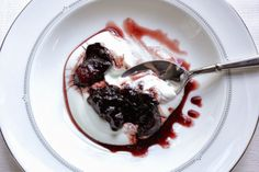 Simple dessert with a wow factor from #WoodenSpoonBaking: Stewed fruit in red wine syrup over #Greek yogurt.