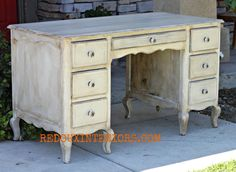 Dumpster Desk rescued with Cece Caldwell's paints and glaze.  REDOUXINTERIORS.COM FACEBOOK: REDOUX