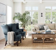 Pottery Barn Living Room Chairs - Best Image of Living Room and Shelf Blue Living Room Sets, Paint Colors For Living Room, Living Room Modern, My Living Room, Living Room Chairs, Interior Design Living Room, Living Room Designs, Living Room Decor, Living Room Pottery Barn