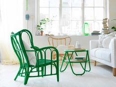 Made in Vietnam of natural fibers, Ikea'sNipprig Chairis available in green or natural. LOVE the green one.