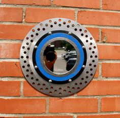 Industrial wall mirror made from motorcycle rotor & found metal Silver Wall Decor, Silver Walls, Industrial Wall Mirrors, Motorcycle Mirrors, How To Clean Mirrors, Round Wall Mirror, Blue And Silver, Home Depot, Great Gifts