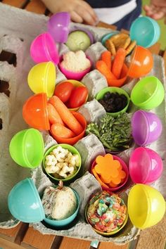 Use plastic eggs as little snack containers in school lunches! Cute for Easter.