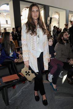 Tatiana Santo Domingo Printed Clutch - Tatiana carried this raffia clutch to the front row of the Missoni show.