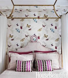 """Butterfly Bedroom Butterfly Bedroom This bedroom in a New York apartment has """"a dreamlike, enchanted feeling, with butterflies flying around,"""" designer Fawn Galli says. Farfalla wallpaper by Nina Campbell. Love the wall paper Girls Bedroom, Girl Room, Bedroom Decor, Girls Canopy, Bedroom Bed, Bedroom Designs, Bed Room, Bedroom Ideas, Master Bedroom"""