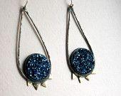 Blue drusy earrings