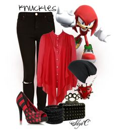 """""""Knuckles Inspired Outfit"""" by rubytyra ❤ liked on Polyvore featuring Topshop, Patrizia Pepe, Philippe Audibert, JustFab, INDIE HAIR, shirt, video, black, bracelet and rebel"""