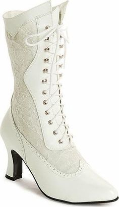 Wedding Shoes and Accessories | White Victorian Wedding Boots | definitely somthing I could walk in, and so pretty too!