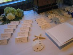 Table for seating assignments for the wedding guests.