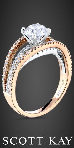 """Scott Kay """"Radiance"""" collection two-tone white and rose gold engagement ring  http://malakjewelers.com"""