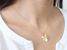 Pearl & Leaf 14K gold filled necklace-simple everyday jewelry. $22.00, via Etsy.
