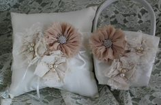 Cream Ring Bearer Pillow and Flower Girl by CustomRingChests