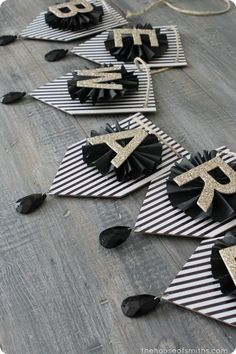 Black, Gold & White Art Deco Inspired Halloween Shelf Decor thehouseofsmiths.com