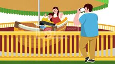SPAI209, 프리진, 일러스트, 사람, 가족, 놀이공원, 유원지, 이벤트, 공원, 가정, 식구, 구성원, 그룹, 단체, 행복, 웃음, 미소, 놀이기구, 기구, 기계, 테마파크, 즐거움, 풍경, 어린이, 아이, 어른, 전신, 남자, 남성, 여자, 여성, 인물, 캐릭터, 청소년, 친구, 하늘, 구름, 신발, 그림자, 3인, 서있는, 앉아있는, 사진, 사진찍는, 촬영, 스마트폰, 핸드폰, 모바일, 포즈, 엄마, 아빠, 부모, 어버이, 어머니, 아버지, 안전바, 배, 지붕, 울타리, 펜스, 인사, 안녕, 교통, #유토이미지