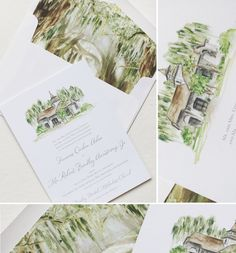 Soft and subtle watercolor illustration of church with coordinating envelope liner featuring trees with Spanish moss. Tree Wedding Invitations, Floral Wedding Invitations, Wedding Invitation Templates, Wedding Stationery, Invitation Suite, Invites, Oak Tree Wedding, Watercolor Wedding Invitations, Watercolor Illustration