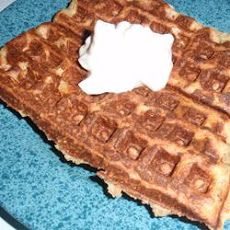 Bacon-Topped Savory Waffles with Onion Sauce Recipe