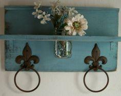 Shabby Robin Egg Blue Chic  Bathroom or  Kitchen Fleur de Lis Towel Rings Shelf with Mason  Jar