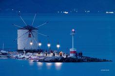 Corfu by Night. More at corfu2travel.com/... #corfu #greece #night #scenery Night Scenery, Corfu Greece, Cn Tower, Wind Turbine, Greek, Culture, Island, Landscape, Travel