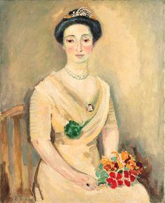 Kees van Dongen - La Baronne de D. au bouquet de...