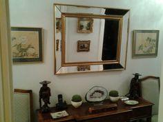 Bevelled large gilt mirror