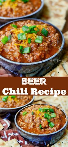 Amazing Chili Recipe with Beer. Comforting chili made with a combination of ground beef and ground pork, beans, vegetables, chili seasoning, and your favorite beer. #chili #beef #groundbeef #partyfood Recipes With Ground Pork And Beef, Pork And Beef Recipe, Soup With Ground Beef, Beef Steak Recipes, Mince Recipes, Chilli Recipes, Chili Recipe With Beer, Super Bowl Chili Recipe, Football Chili Recipe