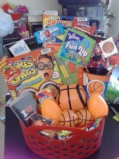 Diy mario brothers easter basket easter baskets pinterest basketball themed easter basket negle Images