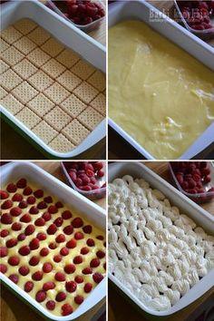 Barbi konyhája: Málnás habos kocka - sütés nélkül Ice Cube Trays, Dessert Recipes, Food And Drink, Treats, Baking, Breakfast, Hair, Beauty, Deserts