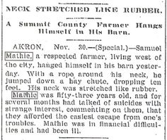1896 obituary #1 for Samuel Russell Mathie, my great-great-grandfather. This occurred in Barberton, Summit Co., Ohio.