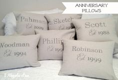 How to Use Canvas Painters' Drop Cloths to Decorate–Everywhere! Anniversary pillows (gifts!)