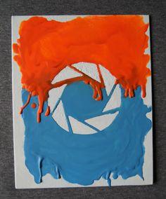 Portal  Aperture Logo Melted Crayon Art van Meltology op Etsy