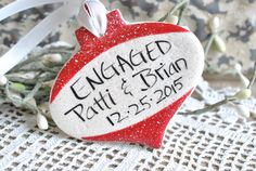 Personalized Engaged Salt Dough Ornament – Cookie Dough Creations