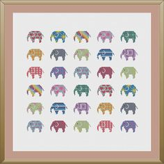 Elephant cross stitch pattern PDF by KnitSewMake on Etsy, £2.00