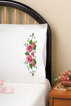 Tobin Home Crafts  Pink Wild Rose Pillowcases by DebiCreations, $14.99