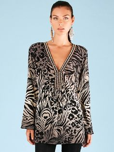 Hale Bob Black Can't Be Tamed Silk V Neck Tunic
