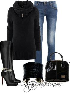 black  Love #outfit  Chic.... Fashion styles for women \ ladies. Cute and love the way it was worn!
