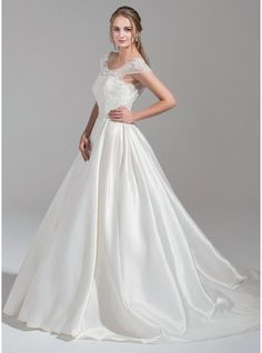 a30138ec31de Ball-Gown Scoop Neck Chapel Train Satin Tulle Wedding Dress With Ruffle  Beading Appliques Lace Sequins