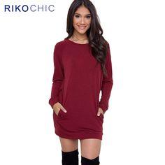 2016 Autumn Winter Cashmere Cotton Women Dresses Long Sleeve Pocket Red Casual  Party Dress plus size 6cab90459541