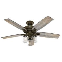 Like this one with darker blades. Hunter Crown Canyon 52 in. Indoor Regal Bronze Ceiling Fan-53331 – The Home Depot