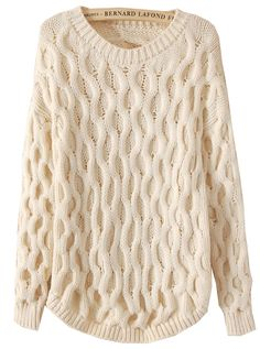 Beige Long Sleeve Cable Knit Loose Sweater