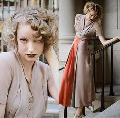 Laura 沖田   Okita - Vintage 1930s Dress - Silver Screens in Technicolor
