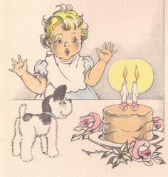 Vintage holiday card, cute dog!