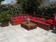 Complete Pallet Garden Lounge With Table & Planters Lounges & Garden Sets Pallet Desks & Pallet Tables Pallet Sofas